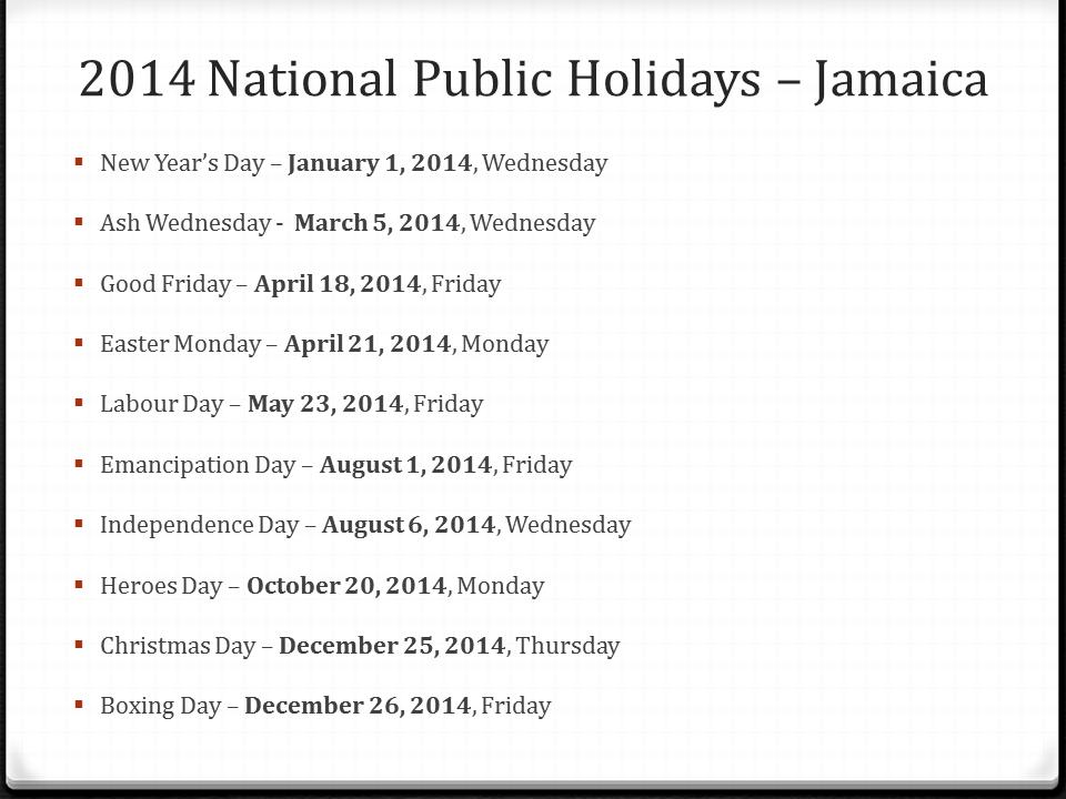 public holidays 2014