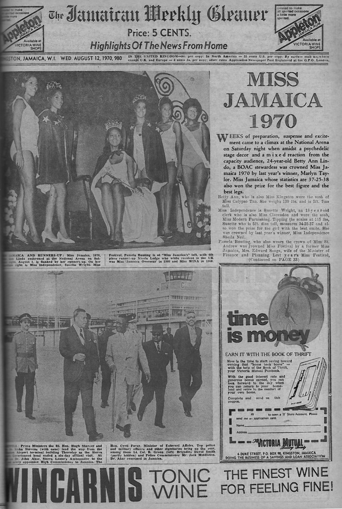 The Jamaican Weekly Gleaner Wed. August 12 1970 Cover