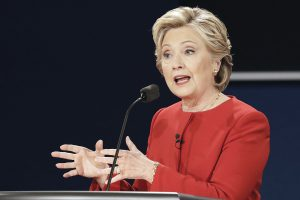 Democratic presidential nominee Hillary Clinton answers a question during the presidential debate with Republican presidential nominee Donald Trump at Hofstra University in Hempstead, N.Y., Monday, Sept. 26, 2016. (AP Photo/David Goldman) *** Local Caption *** Democratic presidential nominee Hillary Clinton during the presidential debate.