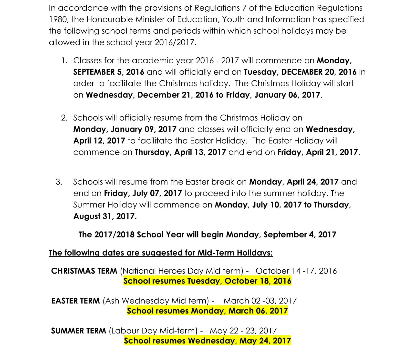 Jamaica Calendar Of School Terms Holidays For The Academic Year 2016 2017