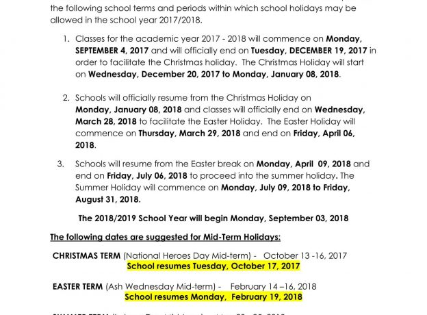 jamaica calendar of school terms holidays for the academic year 2017 2018