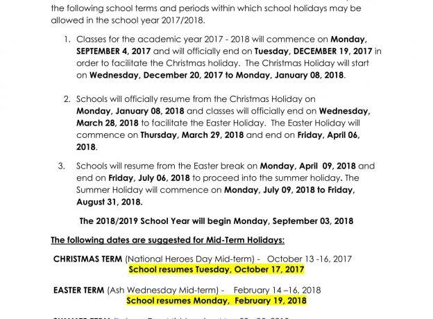 jamaica calendar of school terms holidays for the academic year 2017 2018