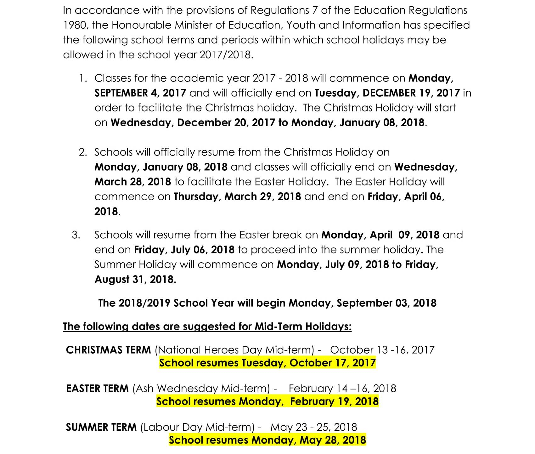 calendar of school terms and holidays for the academic year 2017 to 2018 it details the opening and closing dates for jamaican schools