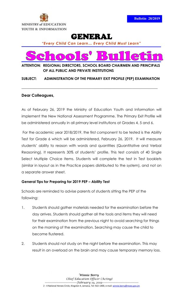 Primary Exit Profile (PEP) Bulletin - Examination Dates